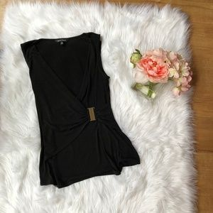 Ellen Tracy Black Wrap Top